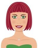Женщина с красными волосами и зелеными глазами Стоковые Фото