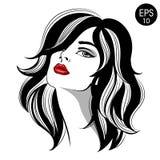 Женщина с красными губами Портрет моды вектора стоковое изображение