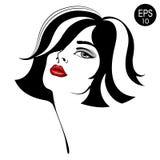 Женщина с красными губами Портрет моды вектора стоковые изображения rf