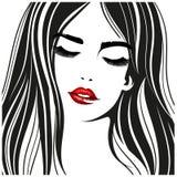 Женщина с красными губами Портрет моды вектора иллюстрация вектора