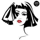 Женщина с красными губами Портрет моды вектора стоковая фотография rf