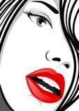 Женщина с красными губами Стоковое Изображение