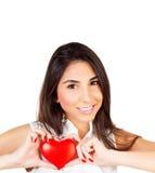 Женщина с красным сердцем в руке Стоковое фото RF