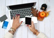 Женщина с кредитной карточкой и портативным компьютером использования Он-лайн принципиальная схема покупкы Стоковая Фотография