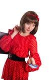 Женщина с кредитной карточкой и хозяйственными сумками Стоковая Фотография RF
