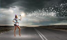 Женщина с мегафоном Стоковая Фотография