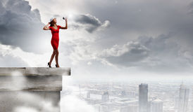 Женщина с мегафоном Стоковые Фото