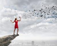 Женщина с мегафоном Стоковое Фото