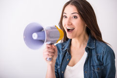 Женщина с мегафоном стоковое фото rf