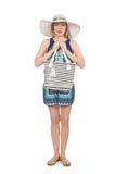 Женщина с мешком Стоковая Фотография
