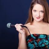Женщина с микрофоном Стоковая Фотография RF