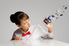 Женщина с мобильным телефоном Стоковые Фото