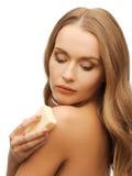 Женщина с мылом Стоковая Фотография