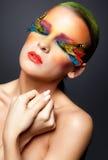 Женщина с ложным составом ресниц пера Стоковая Фотография RF