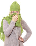 Женщина с одеждой зимы Стоковое фото RF