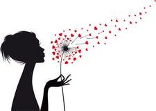 Женщина с одуванчиком сердца, вектором Стоковое Фото