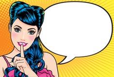 Женщина с пальцем на губах говорит шуточный пузырь иллюстрация вектора