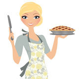Женщина с пирогом вишни иллюстрация штока