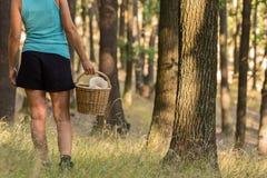 Женщина с плетеной корзиной полной грибов Стоковые Изображения