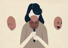 Женщина с пониженным головным убором ее сторона при маски выражая различные эмоции Концепция изменять естественная бесплатная иллюстрация