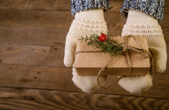 Женщина с подарком рождества в руке Стоковое Изображение