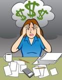 Женщина с проблемой денег Иллюстрация штока