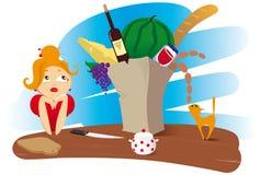 Женщина с продуктами Стоковое Фото