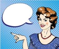 Женщина с пузырем речи указывая иллюстрация вектора пальца в ретро шуточном стиле искусства шипучки иллюстрация вектора