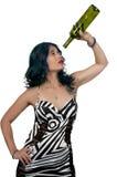 Женщина с пустой бутылкой вина Стоковое Изображение RF