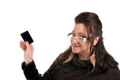 Женщина с пустой карточкой Стоковые Изображения RF