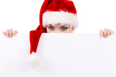 Женщина с пустой пустой доской знамени Рождество Стоковая Фотография