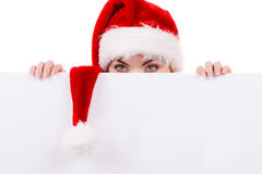 Женщина с пустой пустой доской знамени Рождество Стоковое фото RF