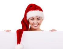 Женщина с пустой пустой доской знамени Рождество Стоковые Фото