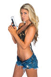 Женщина с пушкой Стоковые Изображения RF