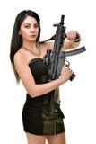 Женщина с пушкой стоковая фотография