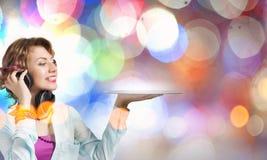 Женщина с плитой диско Стоковое Изображение