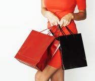 Женщина с разнообразный представлять сумок эмоциональный на белой предпосылке, продаже, концепции людей образа жизни Стоковые Изображения