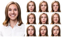 Женщина с различными выражениями лица Стоковое Фото