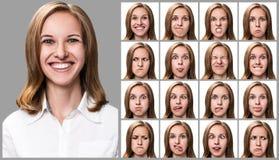 Женщина с различными выражениями лица Стоковые Фотографии RF