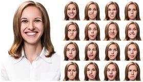 Женщина с различными выражениями лица Стоковые Изображения RF