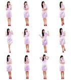 Женщина с различными выражениями Стоковое Фото