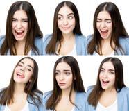 Женщина с различными выражениями Стоковая Фотография RF