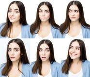 Женщина с различными выражениями Стоковые Изображения