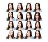 Женщина с различными выражениями Стоковые Фотографии RF