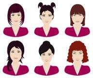 Женщина с различными цветом волос и вектором стилей причёсок Стоковые Изображения
