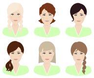 Женщина с различными цветом и стилями причёсок волос Стоковые Изображения RF