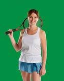 Женщина с ракеткой тенниса стоковое фото