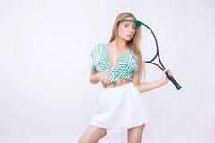 Женщина с ракеткой Стоковые Изображения RF