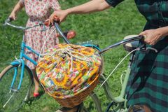 Женщина с ретро велосипедами с корзиной для пикника Стоковые Фотографии RF