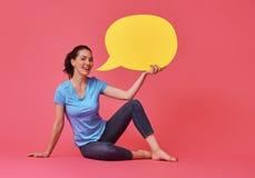 Женщина с речью шаржа Стоковое Изображение RF